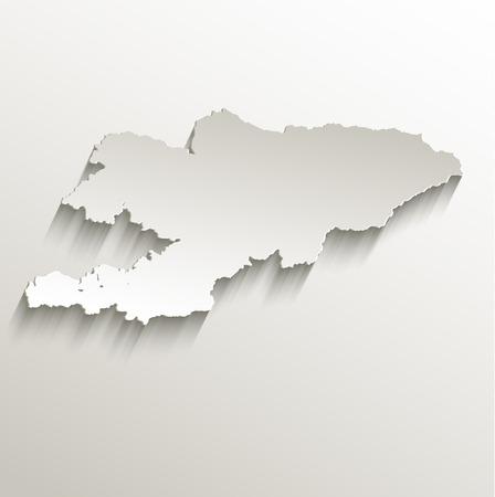 Kyrgyzstan map card paper 3D natural raster photo