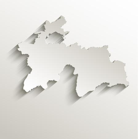 papery: Tajikistan map card paper 3D natural raster