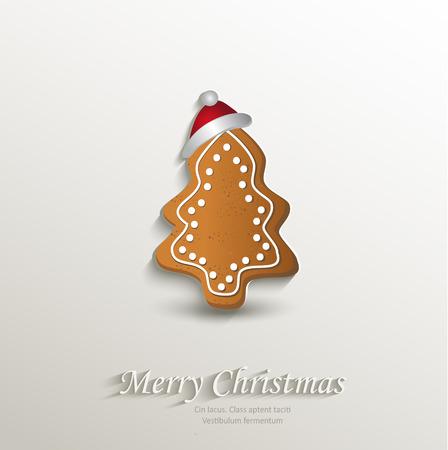 cioccolato natale: carta cap albero di panpepato Natale carta 3D naturale vettore Vettoriali