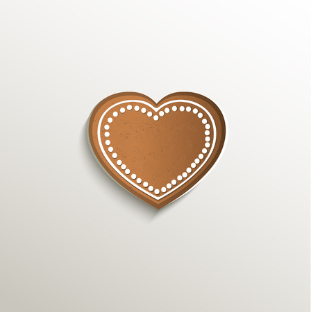 gingerbread heart: gingerbread heart love card paper 3D natural raster Stock Photo