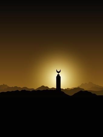 日没のベドウィン エジプトでサハラ砂漠のモスクのミナレット  イラスト・ベクター素材