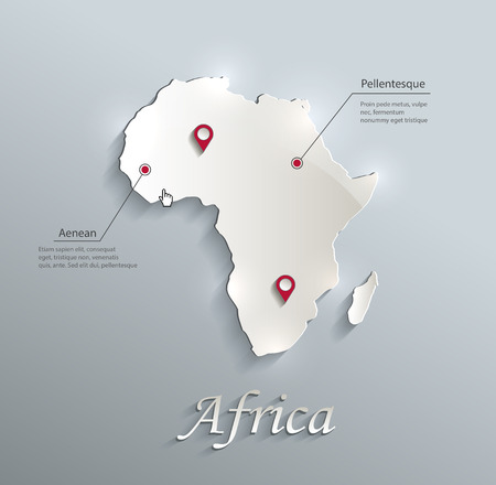 Africa map blue white card paper 3D vector infographics Vector