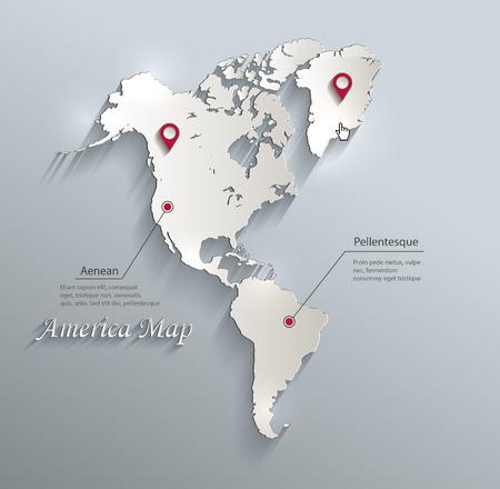 Amérique carte infographies vectorielles bleu carte blanche papier 3D Vecteurs