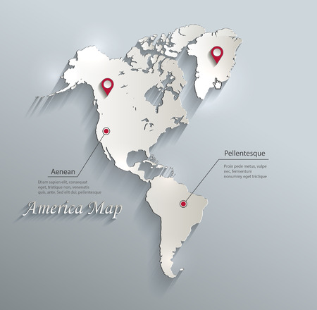 continente: América del mapa infografía vector azul tarjeta blanca de papel en 3D
