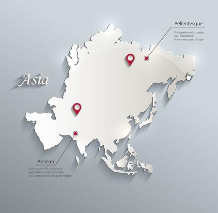 Asia kaart blauw witte kaart papier 3D vector infographics