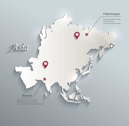 asia map: Asia map blue white card paper 3D vector infographics
