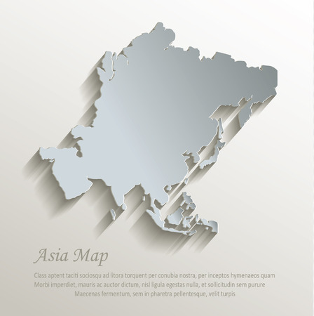 アジア地図白青カード紙 3D ベクトル