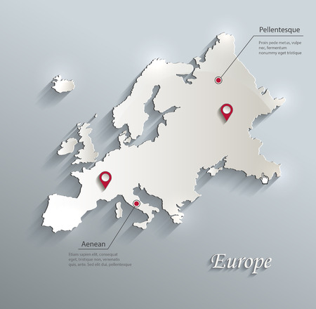Europe map blue white card paper 3D vector infographics 일러스트
