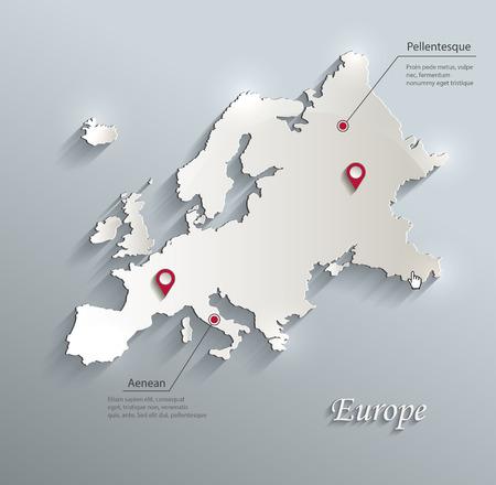 mapa europa: Europa mapa infograf�a vector azul tarjeta blanca de papel 3D
