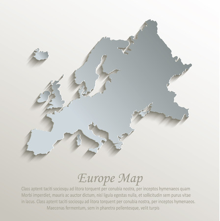 papery: Europe map white blue card paper 3D vector