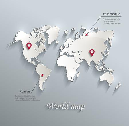 mapa mundi: Mapa del mundo infograf�a vector azul tarjeta blanca de papel 3D Vectores
