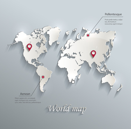 World map blue white card paper 3D vector infographics Çizim