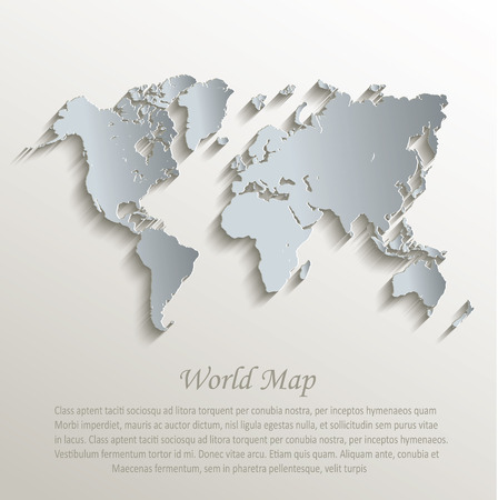 blank label: World map white blue card paper 3D vector