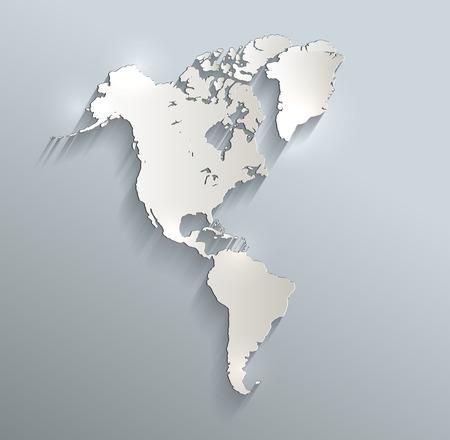 America map blue white card paper 3D raster photo