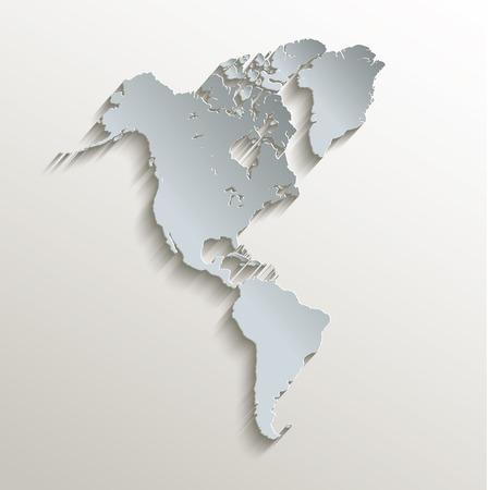 continente americano: Mapa americano blanco tarjeta azul trama de papel 3D Foto de archivo