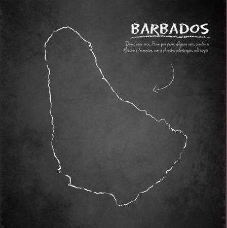 barbados: Barbados map blackboard chalkboard vector