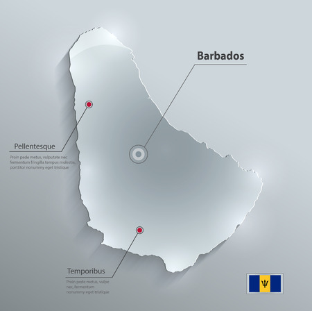 papery: Barbados map flag glass card paper 3D vector