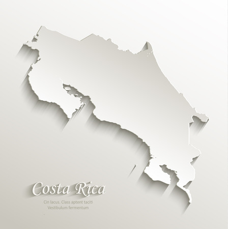 rica: Costa Rica map card paper 3D natural vector Illustration