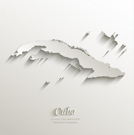 cuban: Cuba map card paper 3D natural vector