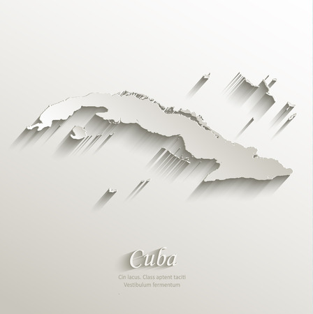 papery: Cuba map card paper 3D natural vector