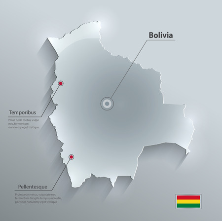 mapa de bolivia: Papel Bolivia mapa de la bandera tarjeta de cristal del vector 3D Vectores