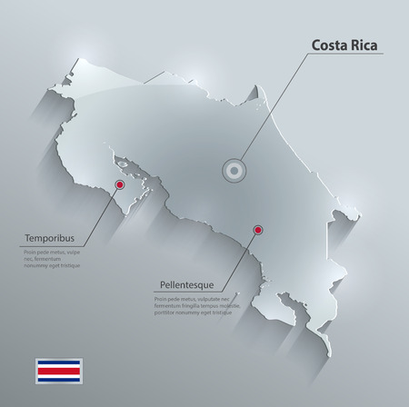 costa rica flag: Costa Rica map flag glass card paper 3D vector