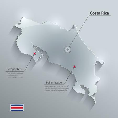 bandera de costa rica: Tarjeta de cristal de bandera de mapa Costa Rica papel de vector 3D Vectores