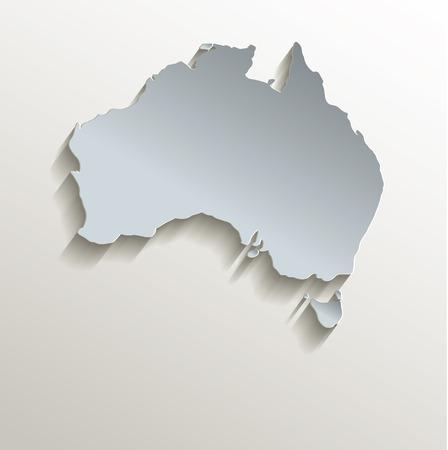 papery: Australia map white blue card paper 3D raster