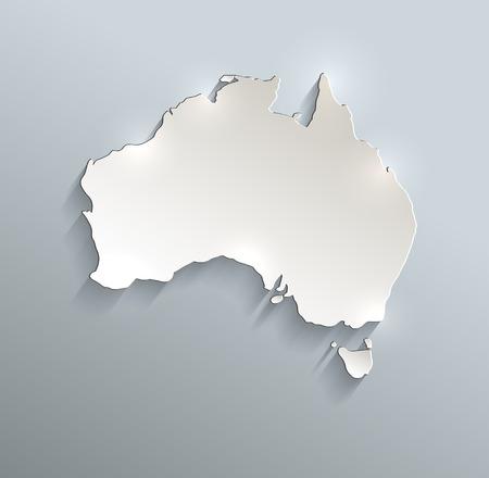 papery: Australia map blue white card paper 3D raster