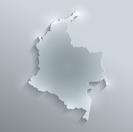 Colombia map glass card paper 3D raster photo