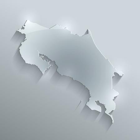 Costa Rica map glass card paper 3D raster photo