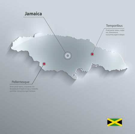 antilles: Jamaica map flag glass card paper 3D vector Illustration