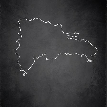 dominican republic: Dominican Republic map blackboard chalkboard raster