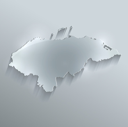 Honduras map glass card paper 3D raster photo