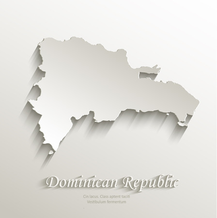 papery: Dominican Republic map card paper 3D natural vector Illustration