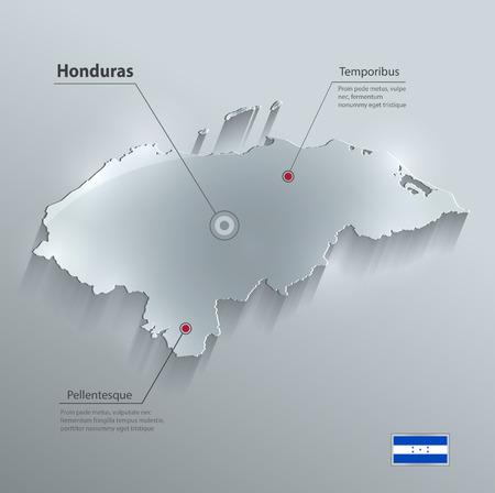 central america: Honduras map flag glass card paper 3D vector Illustration