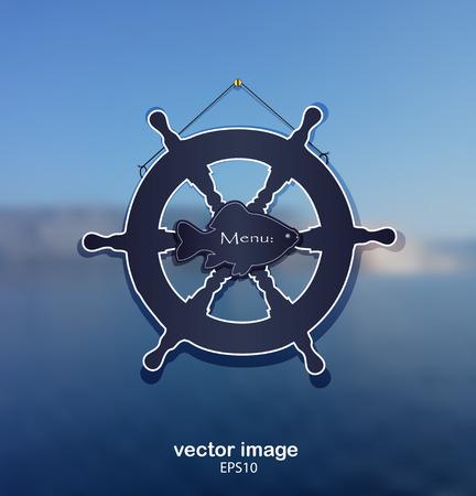 eyecatcher: background sea rudder fish water blue vector