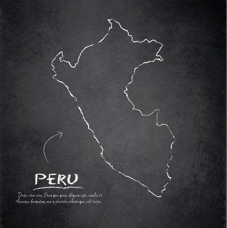 peru map: Peru map blackboard chalkboard vector