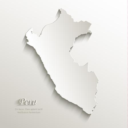 peru map: Peru map card paper 3D natural vector