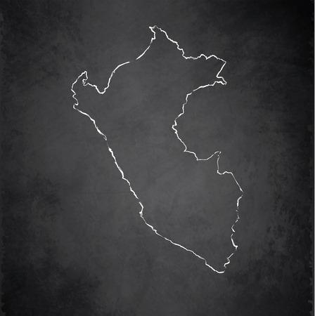 peru map: Peru map blackboard chalkboard raster Stock Photo