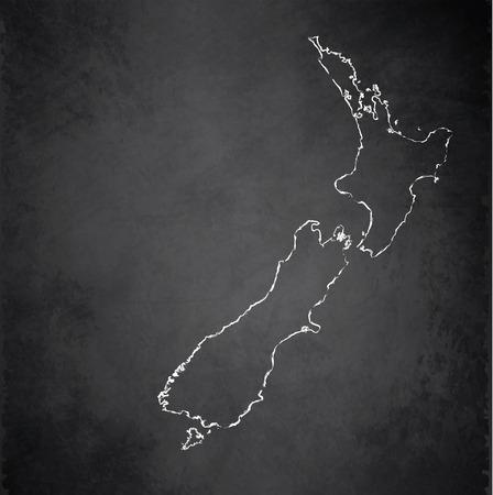 raster: New Zealand map blackboard chalkboard raster