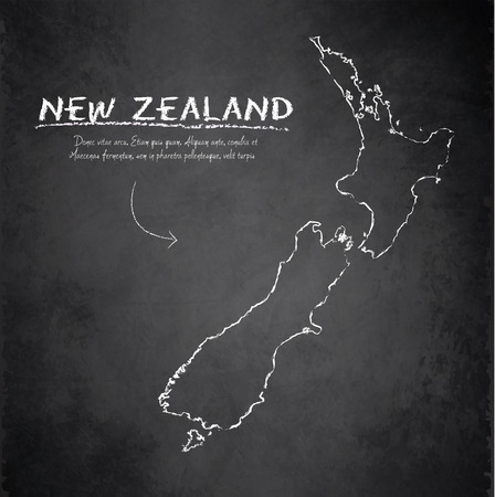 zealand: New Zealand map blackboard chalkboard vector Illustration