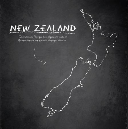 Nieuw-Zeeland kaart schoolbord krijtbord vector Stockfoto - 35852018