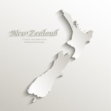 New Zealand map card paper 3D natural vector