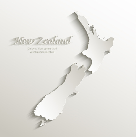 New Zealand map card paper 3D natural vector