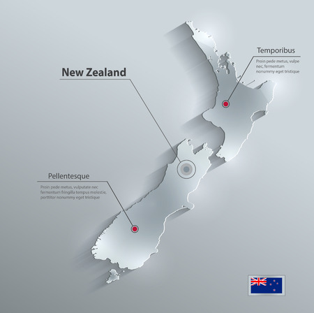 New Zealand map flag glass card paper 3D vector Ilustracja