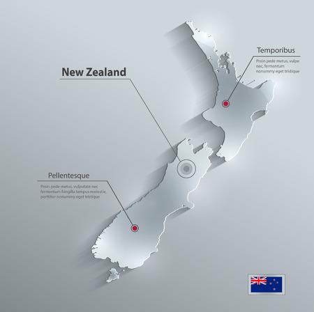 bandera de nueva zelanda: Tarjeta de cristal mapa de la bandera de Nueva Zelanda papel de vector 3D