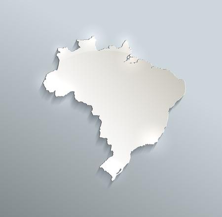 federative republic of brazil: Brazil map blue white card paper 3D raster Stock Photo