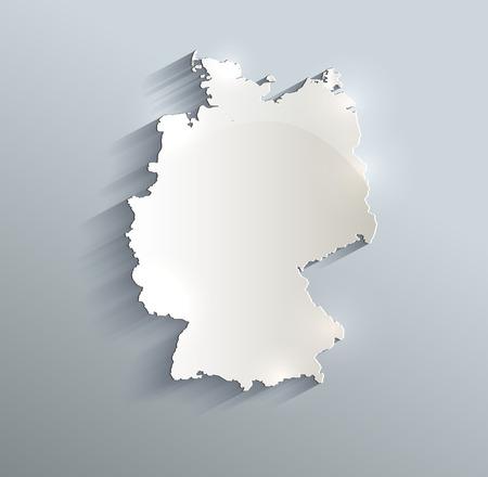 Germany map blue white card paper 3D raster Foto de archivo