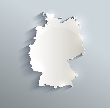Germany map blue white card paper 3D raster Stock Photo